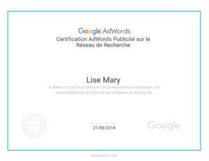Certification Google Adwords Reseau de recherche Lise Mary