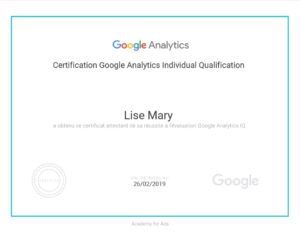 Certification Google Analytics Individual Qualification Lise Mary
