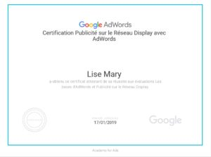Certification Google Display Lise Mary