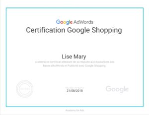 Certification Google Shopping Lise Mary