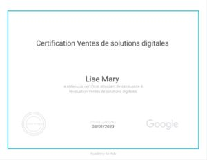 Certification Google Vente de Solutions Digitales Lise Mary