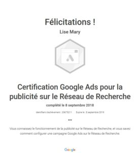 Certification Google Ads / Adwords, réseau de recherche