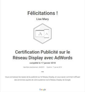 Certification Google Ads / Adwords Display